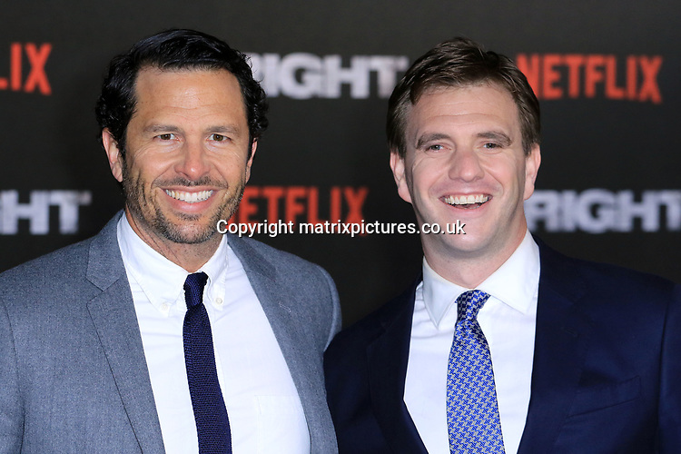 NON EXCLUSIVE PICTURE: MATRIXPICTURES.CO.UK<br /> PLEASE CREDIT ALL USES<br /> <br /> WORLD RIGHTS<br /> <br /> Eric Newman and Bryan Unkeles attending the UK premiere of Netflix's 'Bright', held on London's Southbank.<br /> <br /> DECEMBER 15th 2017<br /> <br /> REF: MES 172875
