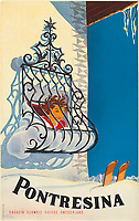 BNPS.co.uk (01202 558833)<br /> Pic: Lyon&Turnbull/BNPS<br /> <br /> Pictured: A vintage poster advertising Pontresina in Switzerlandsold for £812<br /> <br /> A stunning set of vintage ski posters depicting the halcyon days of European winter holidays have sold for over £116,000.<br /> <br /> They featured early lithograph prints of advertising posters for glamorous resorts including Champery and Gstaad.<br /> <br /> The earliest posters in the sale dated from the turn of the 20th century, with the most recent examples from the 1960s.<br /> <br /> As transport links improved in the 1920s and '30s, skiing holidays grew in popularity.