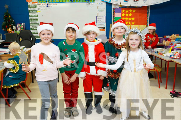 Mrs Hills 1st class students get ready for the opening night of the Balloonagh National school Christmas play on Monday night last, l-r Ella O'Sullivan, Ben Deegan, John Riordan, Samuel Gallagher and Caoimhe Shanahan.