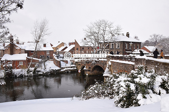 Snow, Bishop's Bridge, Norwich Feb 2018 UK