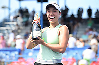 Washington, DC - August 4, 2019: Jessica Pegula (USA) poses with the Citi Open Championship champagne after defeating Camila Giorgi (ITA) in the WTA Citi Open Woman's Finals at Rock Creek Tennis Center, in Washington D.C. (Photo by Philip Peters/Media Images International)