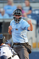 Umpire Jude Koury strikeout call behind catcher Ronaldo Hernandez (27) during a Florida State League game between the Fort Myers Miracle and Charlotte Stone Crabs on April 6, 2019 at Charlotte Sports Park in Port Charlotte, Florida.  Fort Myers defeated Charlotte 7-4.  (Mike Janes/Four Seam Images)