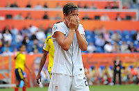 Abby Wambach of team USA reacts during the FIFA Women's World Cup at the FIFA Stadium in Sinsheim, Germany on July 2nd, 2011.