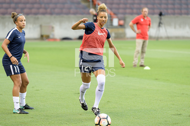 Houston, TX - Saturday July 15, 2017: Estelle Johnson warming up during a regular season National Women's Soccer League (NWSL) match between the Houston Dash and the Washington Spirit at BBVA Compass Stadium.