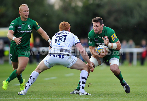 Tom Guest faces off against Jack Tovey. Pre-season friendly match, between London Irish and Bristol Rugby on August 22, 2014 at Hazelwood in Middlesex, England. Photo by: Patrick Khachfe / JMP