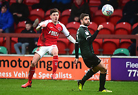 Fleetwood Town's Ryan Rydel competes with Plymouth Argyle's Joe Riley<br /> <br /> Photographer Richard Martin-Roberts/CameraSport<br /> <br /> The EFL Sky Bet League One - Fleetwood Town v Plymouth Argyle - Saturday 16th March 2019 - Highbury Stadium - Fleetwood<br /> <br /> World Copyright © 2019 CameraSport. All rights reserved. 43 Linden Ave. Countesthorpe. Leicester. England. LE8 5PG - Tel: +44 (0) 116 277 4147 - admin@camerasport.com - www.camerasport.com