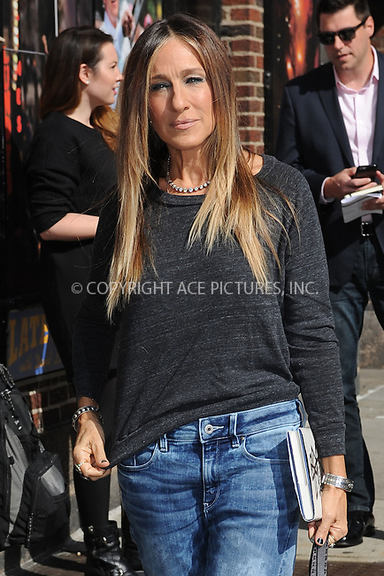 WWW.ACEPIXS.COM <br /> April 13, 2015 New York City<br /> <br /> Sarah Jessica Parker arrives to tape an appearance on the Late Show with David Letterman on April 13, 2015 in New York City.<br /> <br /> Please byline: Kristin Callahan/ACE Pictures  <br /> <br /> ACEPIXS.COM<br /> Ace Pictures, Inc<br /> tel: (212) 243 8787 or (646) 769 0430<br /> e-mail: info@acepixs.com<br /> web: http://www.acepixs.com