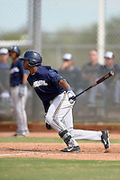 Milwaukee Brewers outfielder Monte Harrison (24) during an Instructional League game against the Cincinnati Reds on October 6, 2014 at Maryvale Baseball Park Training Complex in Phoenix, Arizona.  (Mike Janes/Four Seam Images)