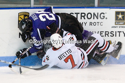 David Ross (Niagara - 26), Anthony Bitetto (Northeastern - 7) - The visiting Niagara University Purple Eagles defeated the Northeastern University Huskies 4-1 on Friday, November 5, 2010, at Matthews Arena in Boston, Massachusetts.