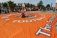 Blackpool fans protest outside Bloomfield Road<br /> <br /> Photographer Alex Dodd/CameraSport<br /> <br /> The EFL Sky Bet League One - Blackpool v Portsmouth - Saturday August 11th 2018 - Bloomfield Road - Blackpool<br /> <br /> World Copyright &copy; 2018 CameraSport. All rights reserved. 43 Linden Ave. Countesthorpe. Leicester. England. LE8 5PG - Tel: +44 (0) 116 277 4147 - admin@camerasport.com - www.camerasport.com