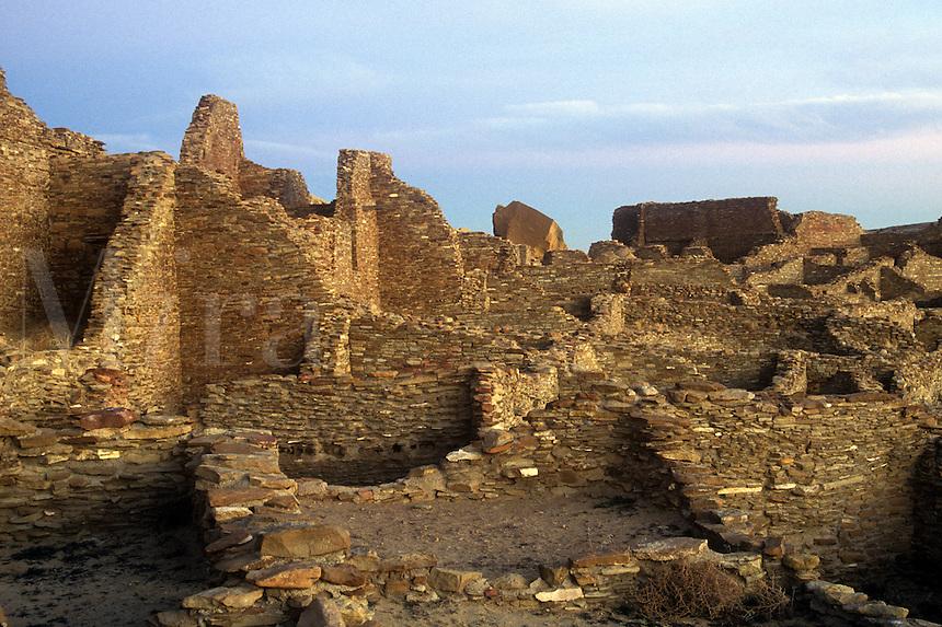 Stone walls of Pueblo Bonito. Chaco Culture National Historical Park
