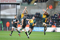Ospreys Dan Biggar kicks for touch. Liberty Stadium, Swansea, South Wales 12.01.14. Ospreys v Northampton Heineken Cup round 5 pool 1 - pIc credit Jeff Thomas photography
