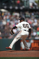 SAN FRANCISCO, CA - MAY 16:  Jose Valdez #66 of the San Francisco Giants pitches against the Cincinnati Reds during the game at AT&T Park on Wednesday, May 16, 2018 in San Francisco, California. (Photo by Brad Mangin)