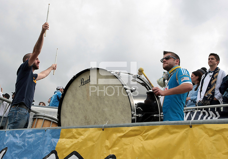 CHESTER, PA - OCTOBER 27, 2012:  Sons of Ben, fans of the Philadelphia Union against the New York Red Bulls during an MLS match at PPL Park in Chester, PA. on October 27. Red Bulls won 3-0.