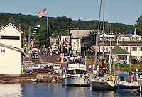 Bayfield (pop. 700) is the gateway to the Apostle Islands National Lakeshore offering sightseeing cruises, marinas, lodging, restaurants, art galleries, and boutiques. View down Rittenhouse Ave. Bayfield Wisconsin USA Lake Superior.