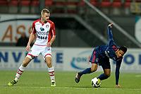 EMMEN - Voetbal, FC Emmen - Jong Ajax, Jens Vesting, Jupiler League, seizoen 2017-2018, 15-12-2017,  Jong Ajax speler Azor Matusiwa met FC Emmen speler Michiel Hemmen
