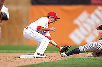 Auburn Doubledays shortstop Clayton Brandt (3) tags Nate Mondou (6) sliding into second during a game against the Vermont Lake Monsters on July 13, 2016 at Falcon Park in Auburn, New York.  Auburn defeated Vermont 8-4.  (Mike Janes/Four Seam Images)