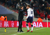 30th January 2019, Wembley Stadium, London England; EPL Premier League football, Tottenham Hotspur versus Watford; Fernando Llorente of Tottenham Hotspur celebrates with Tottenham Hotspur Manager Mauricio Pochettino near the touchline after scoring his sides 2nd goal in the 87th minute to make it 2-1