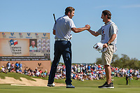 Sean O'Hair (USA) and his caddie shake hands following  Round 4 of the Valero Texas Open, AT&amp;T Oaks Course, TPC San Antonio, San Antonio, Texas, USA. 4/22/2018.<br /> Picture: Golffile | Ken Murray<br /> <br /> <br /> All photo usage must carry mandatory copyright credit (&copy; Golffile | Ken Murray)