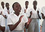 Girls sing in class in the Loreto Girls Secondary School outside Rumbek, South Sudan. The school is run by the Institute for the Blessed Virgin Mary--the Loreto Sisters--of Ireland.