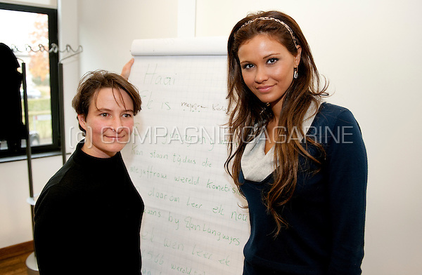 Miss Belgium 2009 Zeynep Sever following a South-African language initiation at Elan Languages in Heusden-Zolder, in preparation of the Miss World election in Johannesburg (Belgium, 23/10/2009)