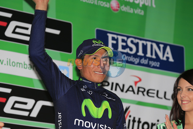Nairo Alexander Quintano (COL) Team Movistar gets the award for 1st up the Muro di Sormano climb at the end of the 107th edition 2013 Tour of Lombardy 242 Km starting in Bergamo and finishing in Lecco. 6th October 2013.<br /> (Photo: Eoin Clarke/www.newsfile.ie)