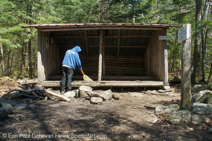 The old Eliza Brook Shelter along the Appalachian Trail (Kinsman Ridge Trail), between Mount Wolf and South Kinsman, in the New Hampshire White Mountains.This was an Adirondack style shelter that slept 8. It was replaced with a new shelter in 2010.