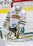 24 November 2012: University of Vermont Catamount goaltender Brody Hoffman, a Freshman from Wilkie, Saskatchewan, in third period action against the University of Minnesota Golden Gophers at Gutterson Fieldhouse in Burlington, Vermont. The Catamounts fell to the Gophers 3-1 in the second game of their 2-game non-divisional weekend series. Mandatory Credit: Ed Wolfstein Photo