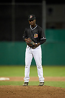 Batavia Muckdogs relief pitcher C.J. Carter (11) gets ready to deliver a pitch during a game against the West Virginia Black Bears on July 2, 2018 at Dwyer Stadium in Batavia, New York.  West Virginia defeated Batavia 3-1.  (Mike Janes/Four Seam Images)