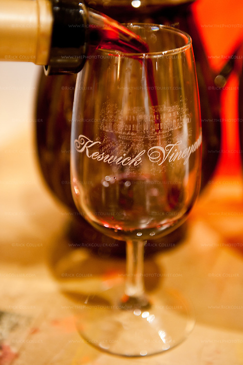 A taste of red is poured into my glass at Keswick Vineyards.