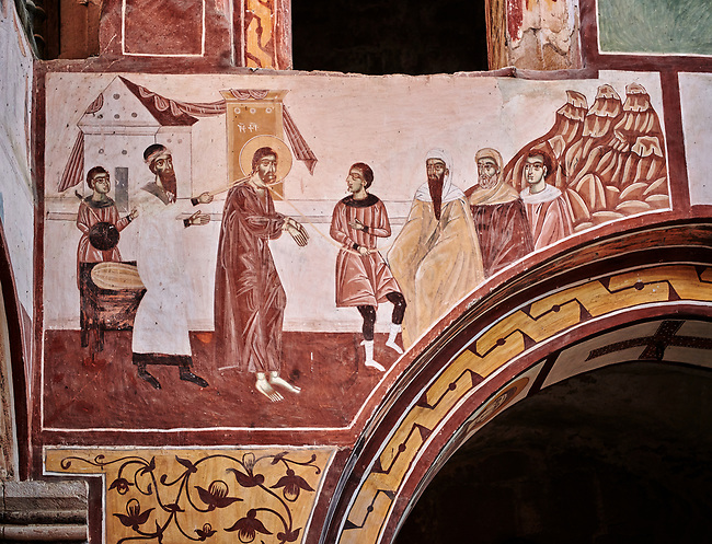 Pictures & images of the Byzantine fresco panels in the Gelati Georgian Orthodox Church of the Virgin, 1106, depicting scenes from the Passion of Christ.  The medieval Gelati monastic complex near Kutaisi in the Imereti region of western Georgia (country). A UNESCO World Heritage Site.