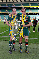 Geordan Murphy (left) and Julian Salvi of Leicester Tigers hold the trophy after winning the Aviva Premiership Final between Leicester Tigers and Northampton Saints at Twickenham Stadium on Saturday 25th May 2013 (Photo by Rob Munro)