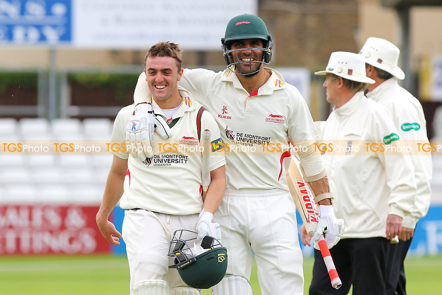 Lewis Hill (L) and Andrea Agathangelou of Leicestershire celebrate batting their team to victory - Essex CCC vs Leicestershire CCC - LV County Championship Division Two Cricket at the Essex County Ground, Chelmsford, Essex - 03/06/15 - MANDATORY CREDIT: Gavin Ellis/TGSPHOTO - Self billing applies where appropriate - contact@tgsphoto.co.uk - NO UNPAID USE