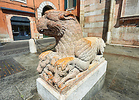 Griffin statue from the destoyed south door of the 12th century Romanesque Ferrara Duom, Italy