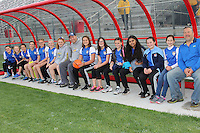 Piscataway, NJ, May 7, 2016.  A local youth team watches warmups from the Sky Blue FC bench.  The Western New York Flash defeated Sky Blue FC, 2-1, in a National Women's Soccer League (NWSL) match at Yurcak Field.