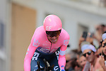 Rigoberto Uran (COL) EF Education First on the 17% climb during Stage 13 of the 2019 Tour de France an individual time trial running 27.2km from Pau to Pau, France. 19th July 2019.<br /> Picture: Colin Flockton | Cyclefile<br /> All photos usage must carry mandatory copyright credit (© Cyclefile | Colin Flockton)