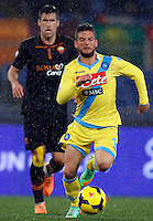 Calcio, semifinale di andata di Coppa Italia: Roma vs Napoli. Roma, stadio Olimpico, 5 febbraio 2014.<br /> Napoli forward Dries Mertens, of Belgium, in action during the Italian Cup first leg semifinal football match between AS Roma and Napoli at Rome's Olympic stadium, 5 February 2014.<br /> UPDATE IMAGES PRESS/Riccardo De Luca