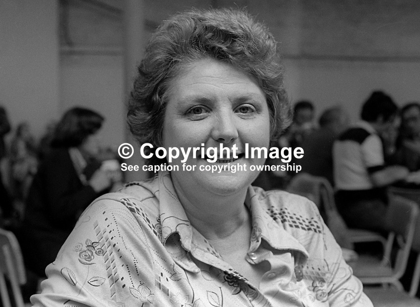 Monica Barnes, politician, Fine Gael, Rep of Ireland, May, 1978, 1978050171a<br /><br />Copyright Image from Victor Patterson, 54 Dorchester Park, <br />Belfast, UK, BT9 6RJ<br /><br />t1: +44 28 9066 1296 (from Rep of Ireland 048 9066 1296)<br />t2: +44 28 9002 2446 (from Rep of Ireland 048 9002 2446)<br />m: +44 7802 353836<br /><br />victorpatterson@me.com<br />www.victorpatterson.com<br /><br />Please see my Terms and Conditions of Use at VICTORPATTERSON.COM. It is IMPORTANT that you familiarise yourself with them.<br /><br />Images used on the Internet must be visibly watermarked i.e. &copy;VICTORPATTERSON.COM within the body of the image and copyright metadata must not be deleted. Images used on the Internet have a size restriction of 4kbs and are chargeable at the then current NUJ rates.<br /><br />This image is only available for the use of the download recipient i.e. television station, newspaper, magazine, book publisher, etc, and must not be passed on to any third party. It is also downloaded on condition that each and every usage is notified within 7 days to victorpatterson@me.com<br /><br />The right of Victor Patterson to be identified as the author is asserted in accordance with The Copyright Designs And Patents Act (1988).