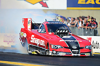 Oct. 5, 2012; Mohnton, PA, USA: NHRA funny car driver Cruz Pedregon during qualifying for the Auto Plus Nationals at Maple Grove Raceway. Mandatory Credit: Mark J. Rebilas-