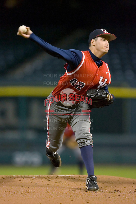 Starting pitcher Frank Corolla #42 of the Houston Cougars in action versus the Texas A&M Aggies in the 2009 Houston College Classic at Minute Maid Park March 1, 2009 in Houston, TX.  The Aggies defeated the Cougars 5-3. (Photo by Brian Westerholt / Four Seam Images)