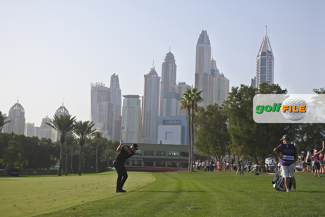 Watt Wallace (ENG) on the 16th during Round 4 of the Omega Dubai Desert Classic, Emirates Golf Club, Dubai,  United Arab Emirates. 27/01/2019<br /> Picture: Golffile | Thos Caffrey<br /> <br /> <br /> All photo usage must carry mandatory copyright credit (© Golffile | Thos Caffrey)
