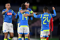 Dries Mertens of Napoli celebrates with Allan, Marek Hamsik , Lorenzo Insigne of Napoli after scoring his side third goal during the Uefa Champions League 2018/2019 Group C football match betweenSSC Napoli and Crvena Zvezda at San Paolo stadium, Napoli, November, 28, 2018 <br /> Foto Andrea Staccioli / Insidefoto