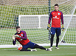 England's Fraser Forster and Tom Heaton in action during training at the Tottenham Hotspur Training Centre.  Photo credit should read: David Klein/Sportimage