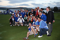 European Team players and caddies line-up for the final photocell as winners of the 2014 Ryder Cup from Gleneagles, Perthshire, Scotland. Picture:  David Lloyd / www.golffile.ie