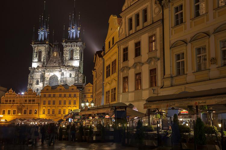 Prague's architecture is brightly illuminated after dark