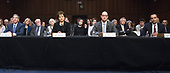 From left to right: Joseph Simons, Christine S. Wilson, Noah Joshua Phillips, and Rohit Chopra testify before the United States Senate Committee on Commerce, Science, and Transportation on their nominations to be commissioners of the Federal Trade Commission (FTC) on Capitol Hill in Washington, DC on Wednesday, February 14, 2018.  Mr. Simons will serve as FTC chairman.<br /> Credit: Ron Sachs / CNP