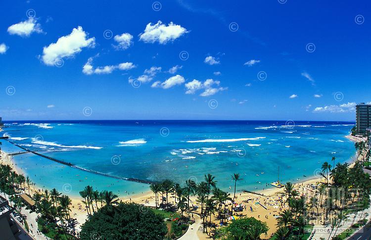 Famous Waikiki Beach, Kuhio Beach Park and Kapiolani Beach Park can all be seen in this wide angle,birds eye view.