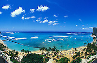 Famous Waikiki Beach, Kuhio Beach Park and Kapiolani Beach Park can all be seen in this wide angle,birds eye view.