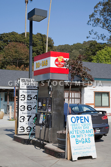 A BoGas gas station which is a community owned station in the Bolinas town. Bolinas, California, USA