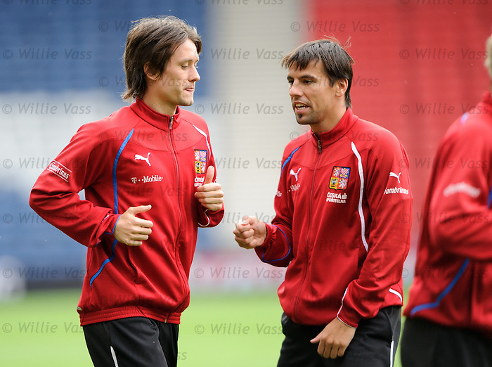 Tomas Rosicky and Milan Baros at Hampden for Czech training